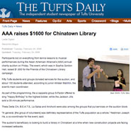 Tufts students raise $1,600 for Friends of the Chinatown Library